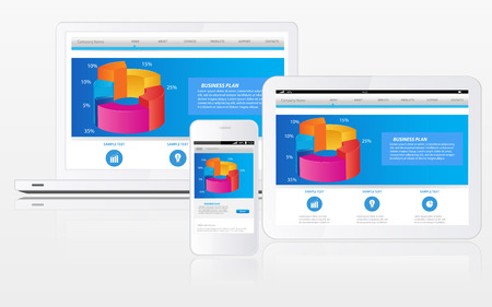 Responsive website template on multiple devices 版權商用圖片 - 29462258