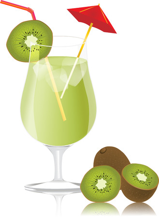 bitter:  Fresh kiwi and glass with juice.