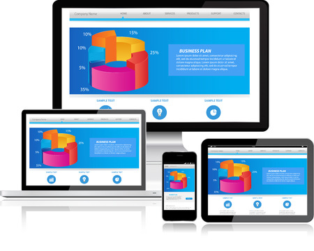 Responsive Website-Templates auf mehreren Geräten Standard-Bild - 29902534