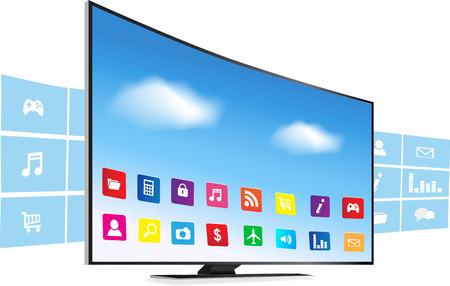 アプリケーションは、白い背景の上のスマート テレビから出てくる