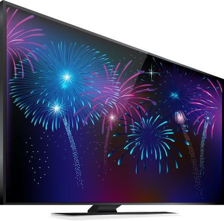 Vuurwerk verlichting van de hemel Smart TV-scherm met vuurwerk op wit