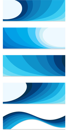 Set of blue web banners Abstract  business background bannerl blue wave