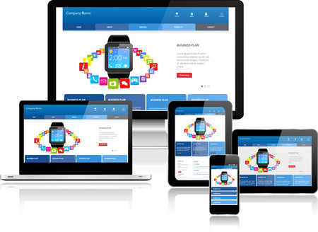 website: Responsive website template on multiple devices