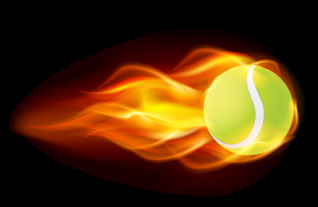 backhand: Flaming tennis ball on black background