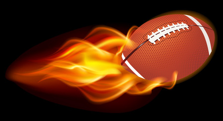 open flame: Flaming Football Ball on black background
