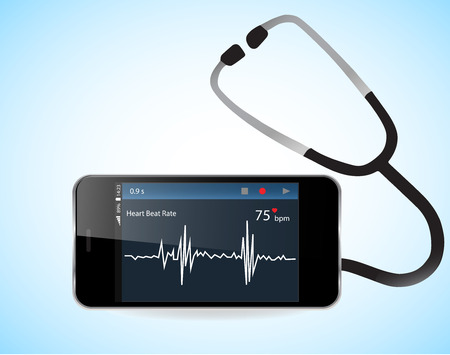 Smartphone with heart rate monitor function. Illustration