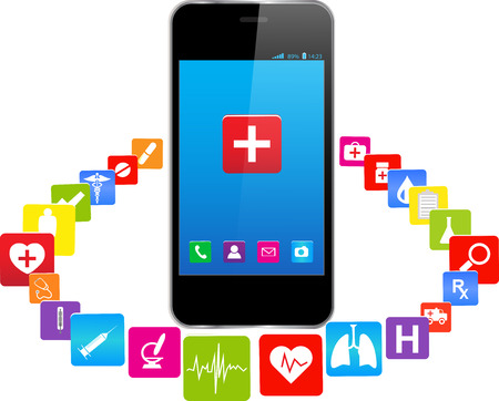 sports app: BlueTouchscreen Smartphones with colorful medical Application Icons