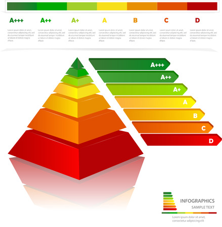 energy classification: Colorful  pyramid energy efficiency rating . Useful for infographics and presentations. Illustration