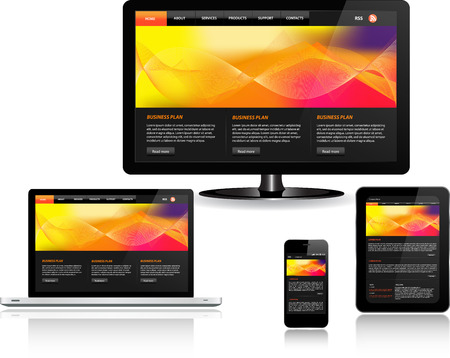 Responsive website template on multiple devices Banco de Imagens - 33254691