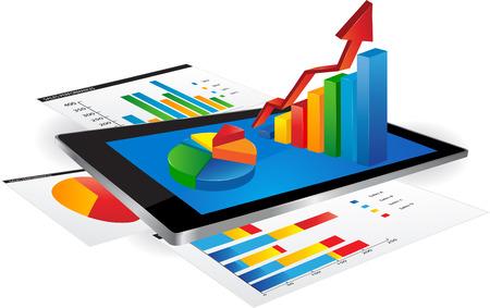 統計グラフとタブレットします。  イラスト・ベクター素材