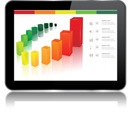 stock market  finance: Tablet with statistics chart