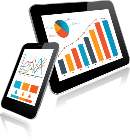 Tablet PC and Smartphone with Statistics chart