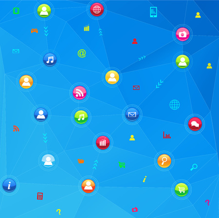 Social network communication in the global computer networks Vector