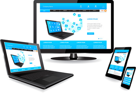 Responsive website template on multiple devices 版權商用圖片 - 33695816
