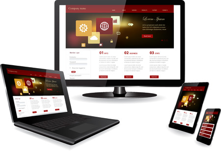 Responsive website template on multiple devices Laptop Smartphone Tablet PC 版權商用圖片 - 34093903