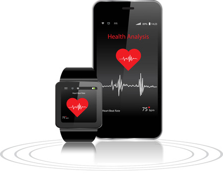devices: Black Touchscreen Smartwatch and Smartphone with health apps