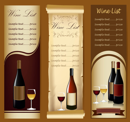 Elegant Wine menu with wine glass and bottle Vector