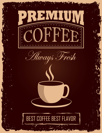 poster designs: Retro-Vintage Coffee Poster with coffee cup