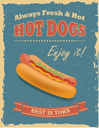 Vintage Hot Dogs poster with grunge effects. Иллюстрация