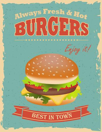 Fast food restaurant poster with retro hamburger