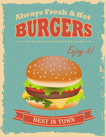 Fast food restaurant poster with retro hamburger Vector