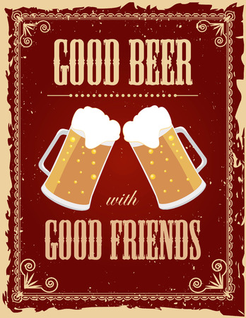 グランジ効果でヴィンテージのビールのポスター。  イラスト・ベクター素材