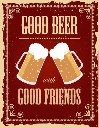 Weinlese-Bier-Poster mit Grunge-Effekte. Standard-Bild - 36006758
