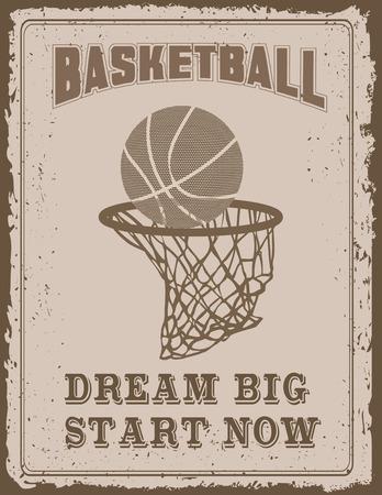 sport equipment: Vintage sport poster with on old paper background Illustration