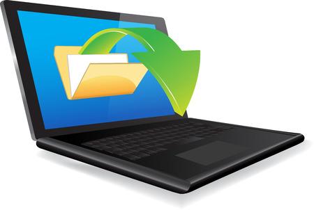 uploading: Caricamento documenti dal computer portatile Vettoriali