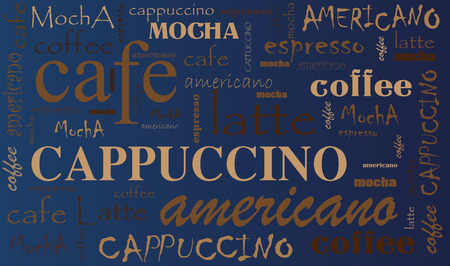 コーヒー背景別のブレンドとタイプ。大ざっぱなコーヒーのアイコンと言葉