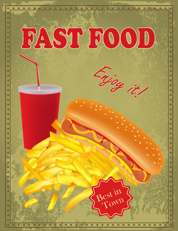 Vintage Fast Food poster with hot dog, fries and drink Vector