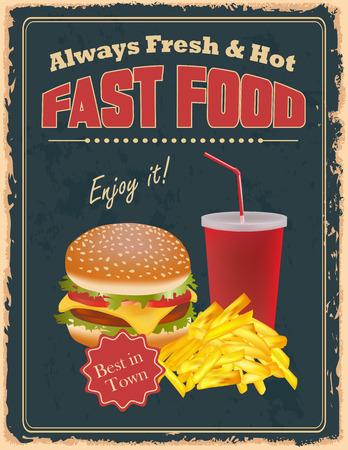 ハンバーガー、フライド ポテト、飲み物とファーストフードのビンテージ ポスター