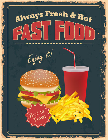 Vintage fast food  poster with burgers, fries and drink Illustration