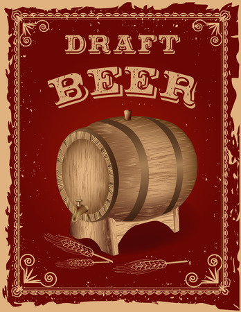 Beer poster with a wooden barrel.Retro Vintage Grunge Style