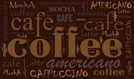 blends: Coffee Background Different Blends and Types. Sketchy coffee icons and words Illustration