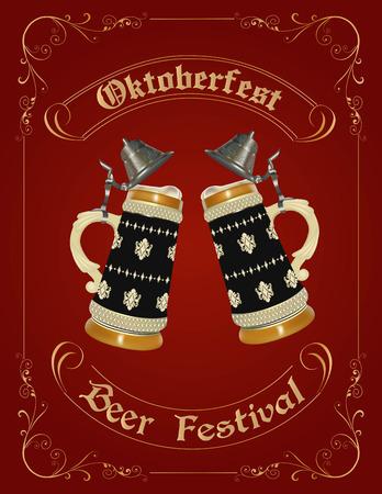 stein: Progettazione celebrazione Oktoberfest con birra tedesca stein