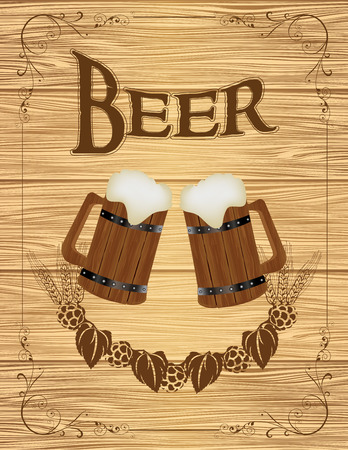 beverage menu: Two Wooden Mugs with Beer on wooden background Illustration