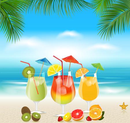 新鮮なフルーツとトロピカル カクテルを楽しめます。夏の休日