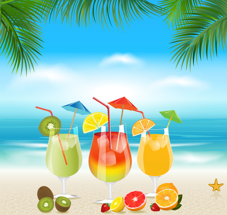Tropical cocktails with fresh fruits.Summer holidays Illustration