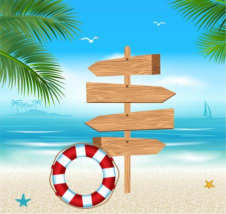 Segno di legno su una spiaggia tropicale. Vacanze estive