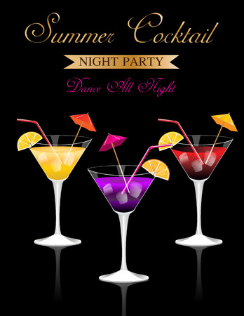 cocktail glasses: Summer Cocktail Party poster with alcohol drinks in glasses on black background
