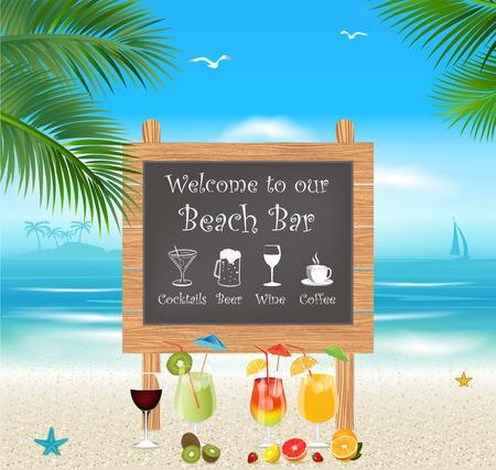 Menú de bar en la playa tropical. Vacaciones y Turismo concepto Ilustración de vector
