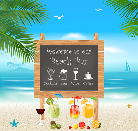 beach bar: Tropical beach bar menu. Vacation and Tourism concept