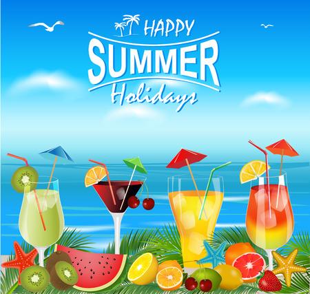 cocteles de frutas: cócteles de verano con piezas de fruta y con la playa de fondo