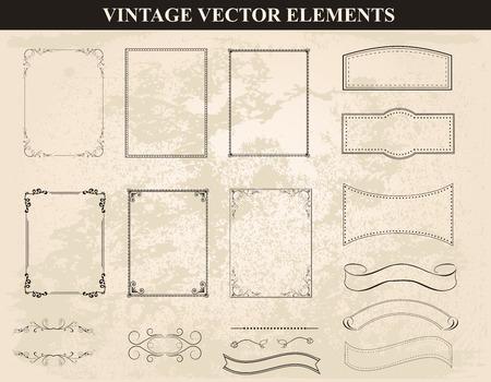 装飾的なビンテージ フレーム、ボーダーは、ベクトルを設定します。様々 なスタイルのビンテージ フレーム デザインを抽象化します。ベクトル ビ