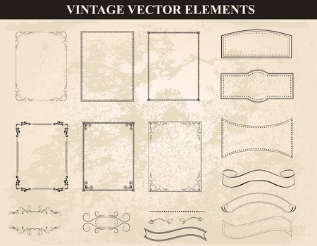Decorative vintage frames and borders set vector.Abstract vintage frame design in various styles.Vector Vintage Ornament Stok Fotoğraf - 43644995