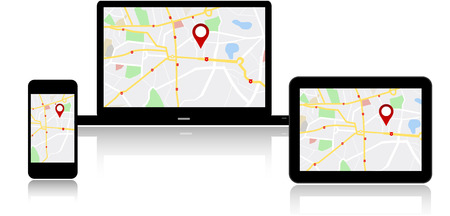 gps device: GPS Navigation map on on media technology devices Illustration
