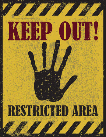 Keep out warning, restricted area sign, warning sign Illustration