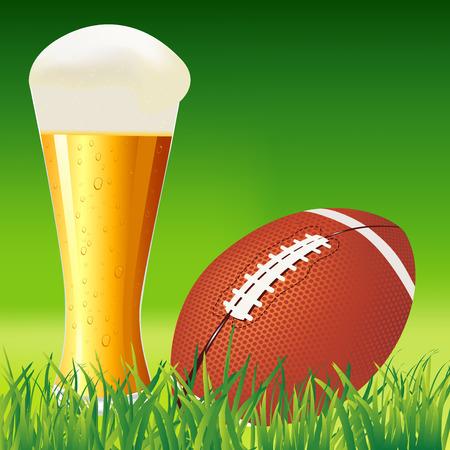 football field: American football ball on grass  American football background illustration