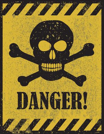 Muestra del peligro con el símbolo de la calavera. Señal de peligro mortal, señal de peligro, zona de peligro Ilustración de vector